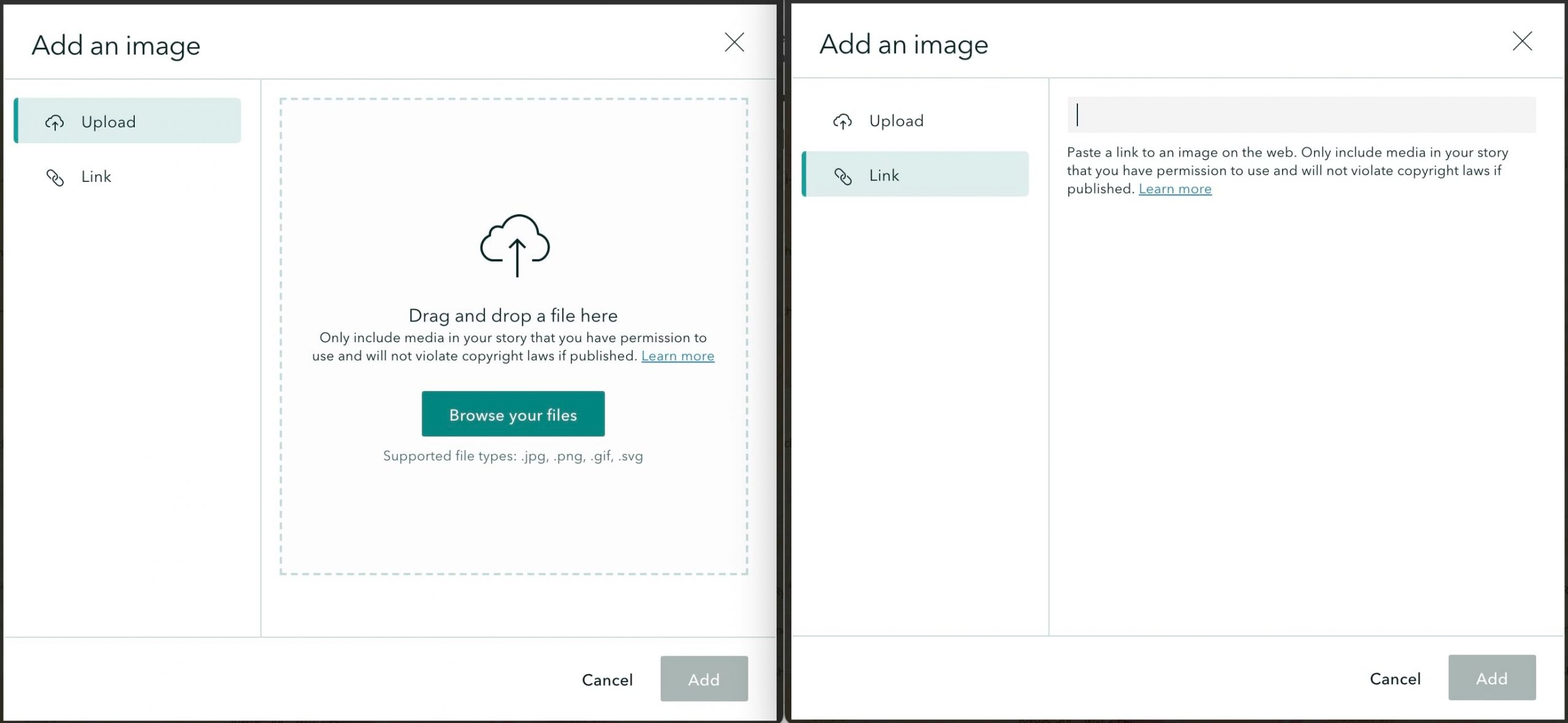 Two screenshots showing uploading and linking media.