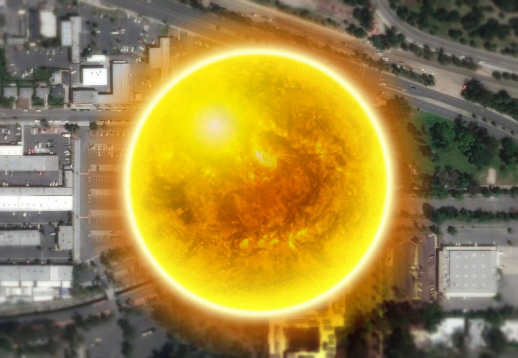 At this scale, the sun would cover much of Esri's campus.