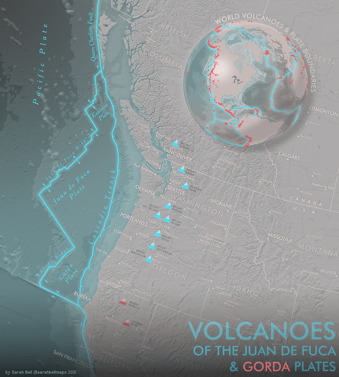 Map showing volcanoes of the Juan de Fuca and Gorda plates off North America's pacific coast