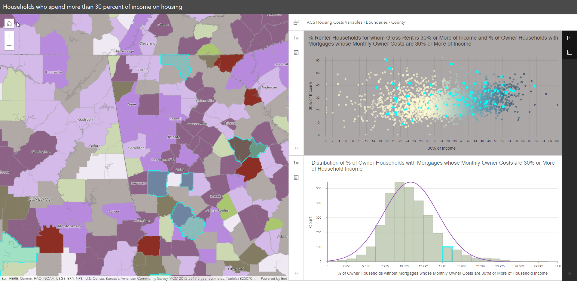 Chart features selected and reflected in open charts and map