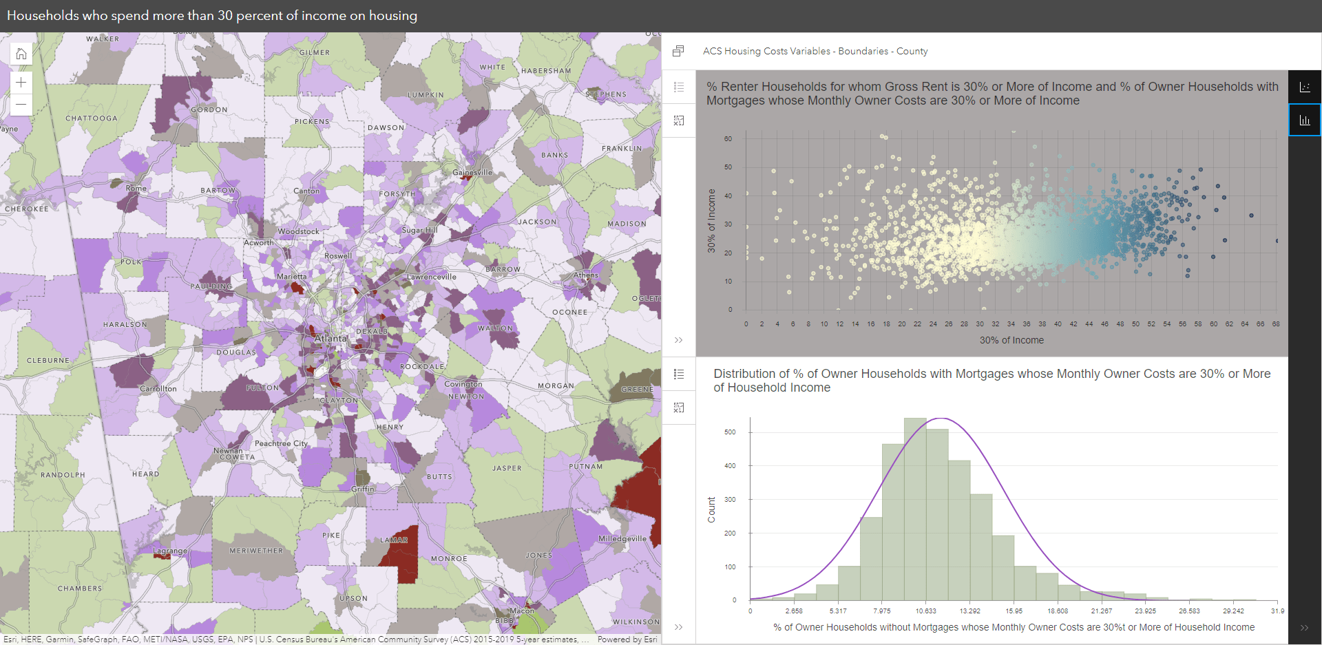 Chart Viewer Instant App with map and charts shown side by side
