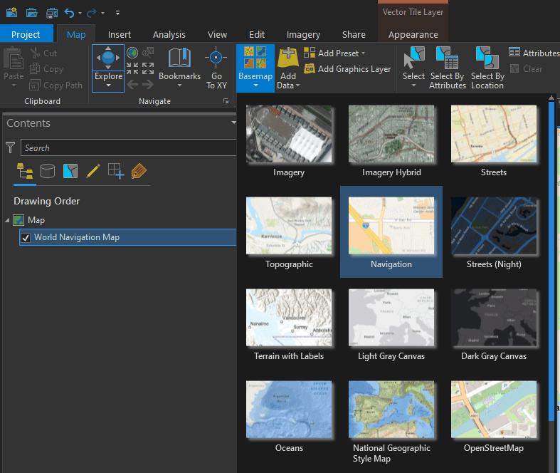 Adding navigation vector tile basemap to ArcGIS Pro map