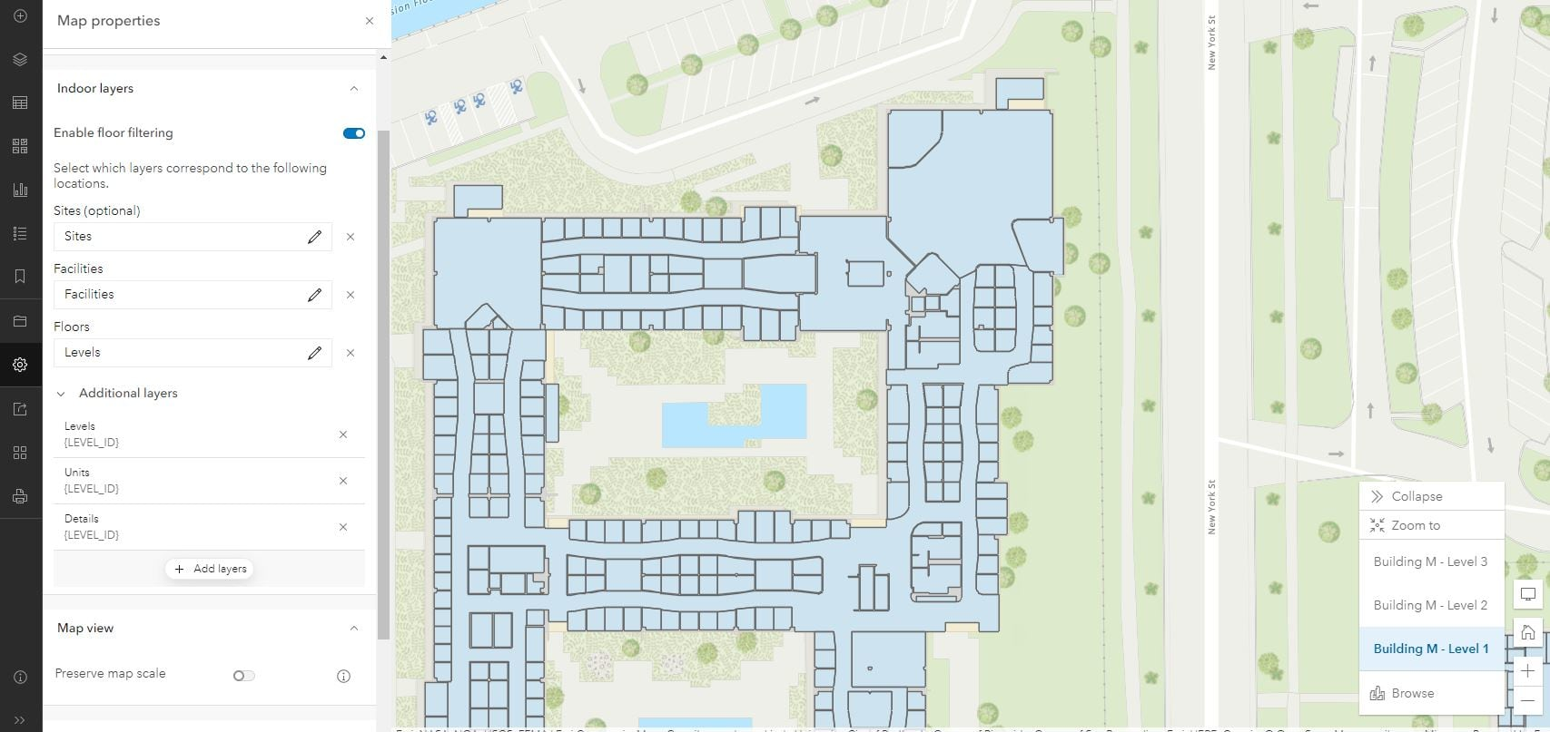 Floor-aware configuration in Map Viewer