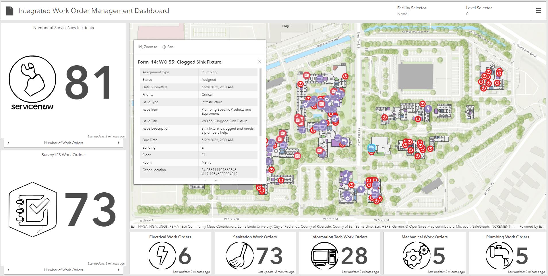 arcgis indoors integrated work order management dashboard