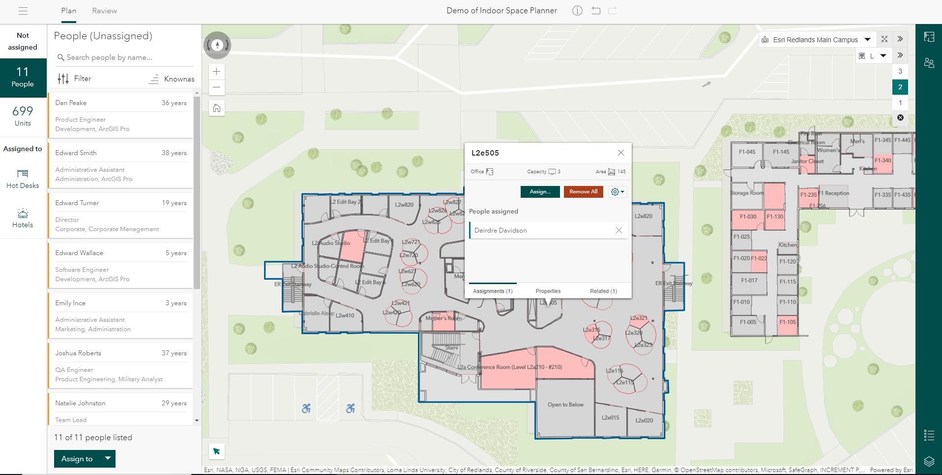 arcgis indoors space planner