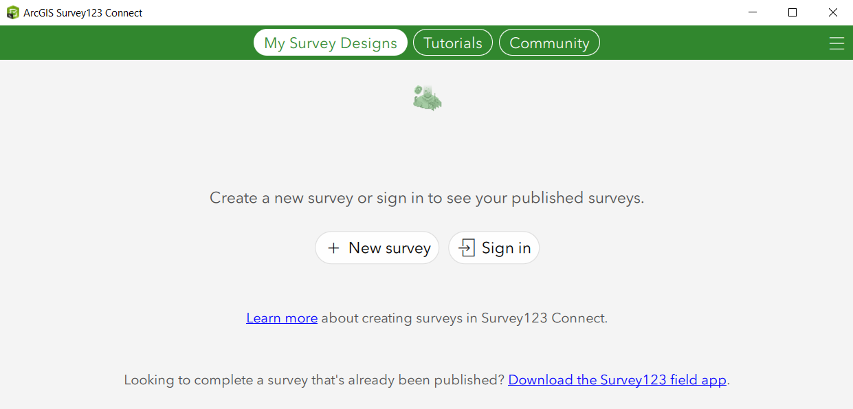 Survey123 Connect Gallery showing the New Survey button