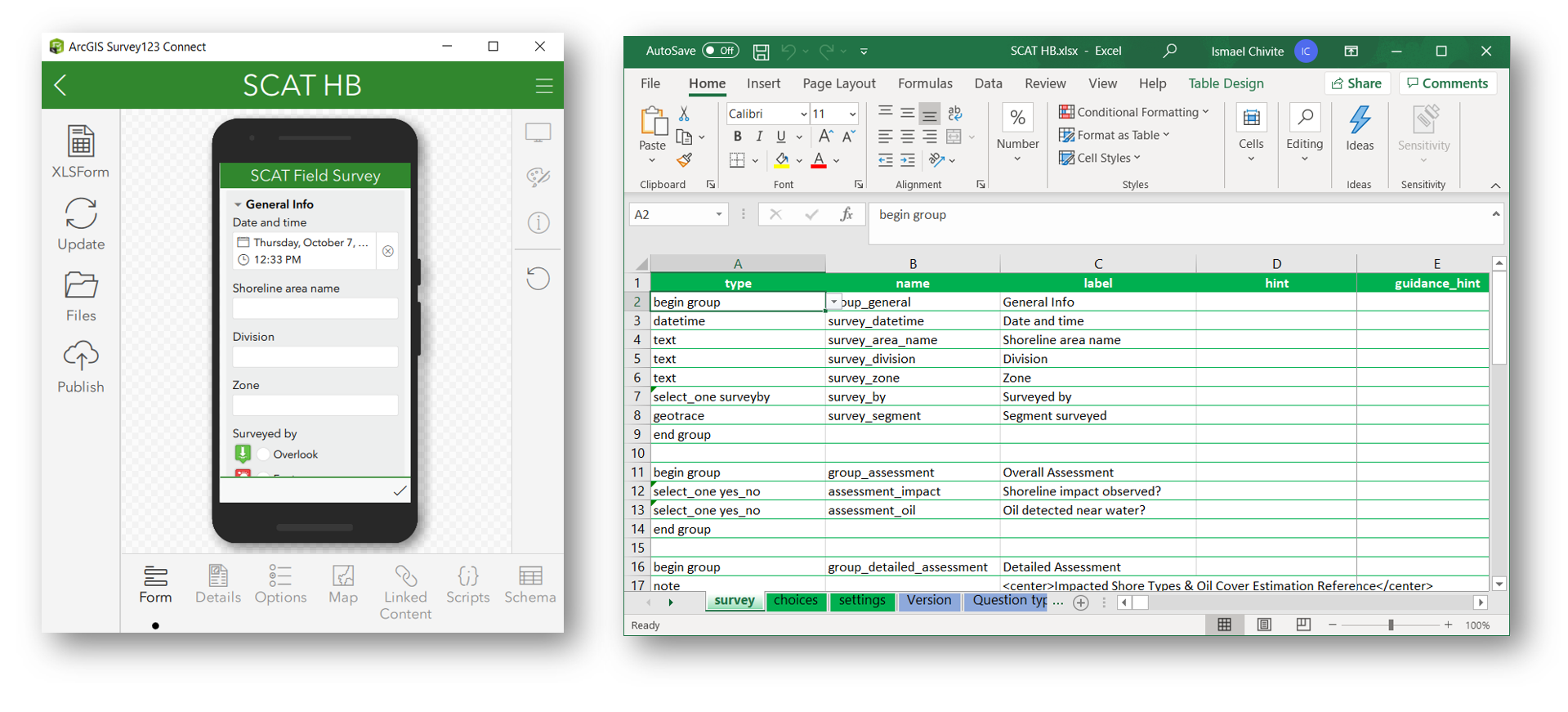 Image showing Survey123 Connect, the SCAT preview and its corresponding XLSForm spreadsheet