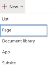 Create a new SharePoint page