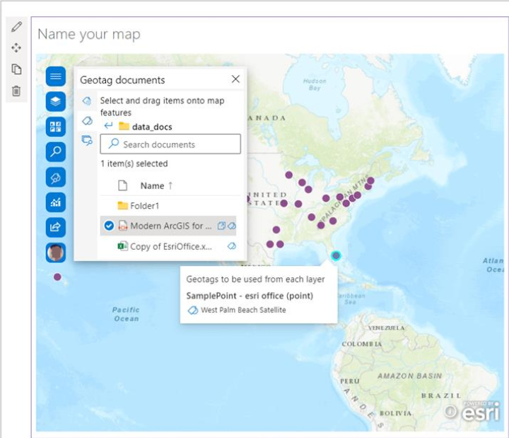 Geotagging attributes on the map