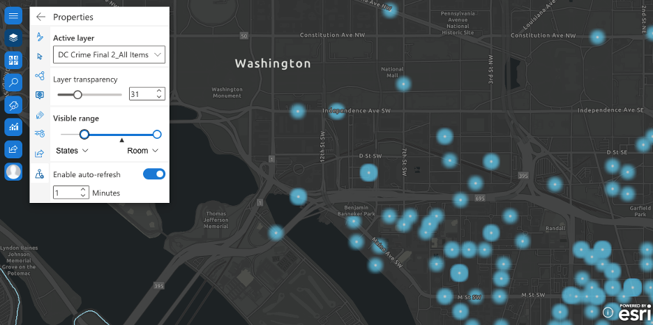 Properties widget in ArcGIS for SharePoint