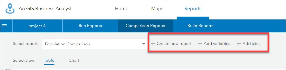 Comparison report options
