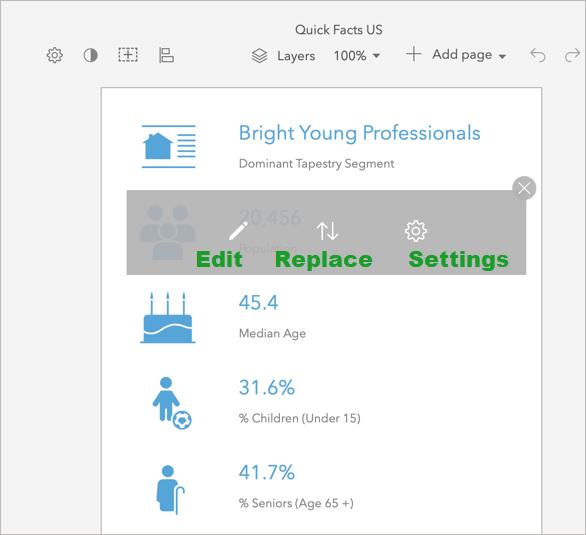Infographic panel options