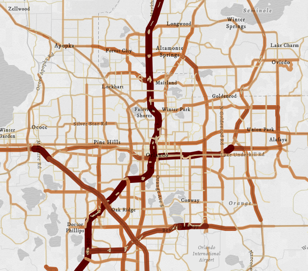 Average annual daily traffic on Florida roads.
