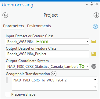 Project tool with From and To coordinate systems