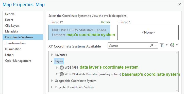 Map Properties Coordinate System window