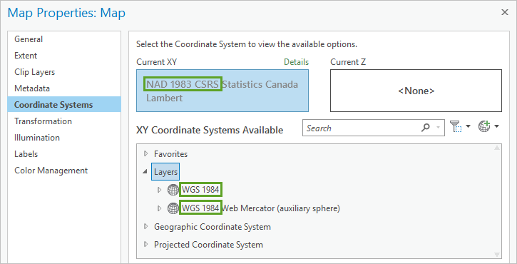 Geographic coordinate systems highlighted in the Map Properties Coordinate Systems window