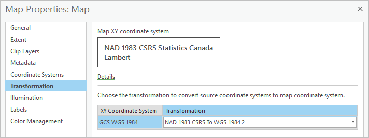 Map Properties Transformation window, with one transformation listed