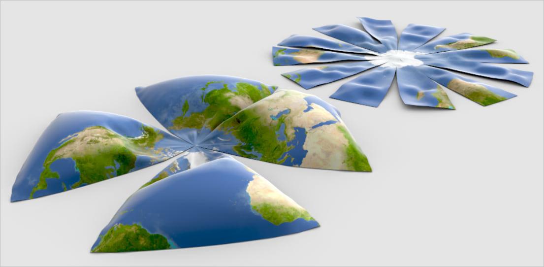 Illustration of attempts to flatten a globe