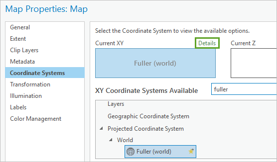 Details link in the Map Properties > Coordinate Systems window