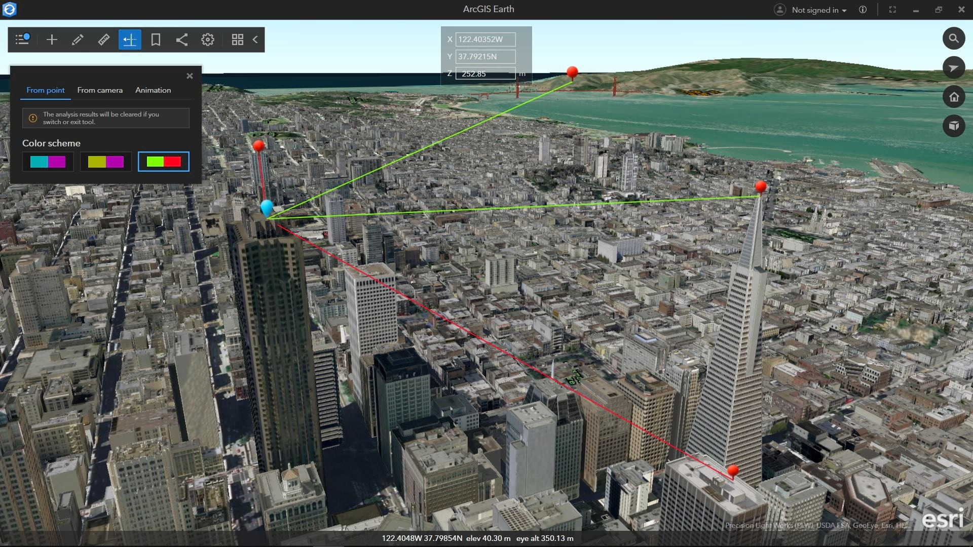 Using I3S layers with interactive analysis tools in ArcGIS Earth