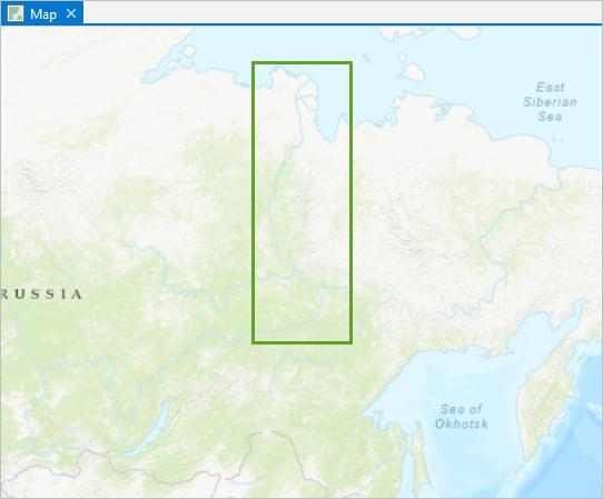 Lena River in Siberia shown on topographic basemap