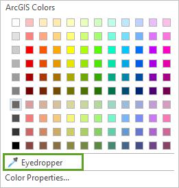 Eyedropper tool in color picker menu