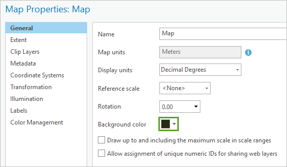 Background color in the Map Properties window, General tab