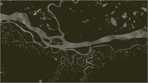 Detail of the river map with the white watercolor symbol