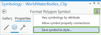 Save symbol to style highlighted in the burger button menu in the Format Polygon Symbol pane