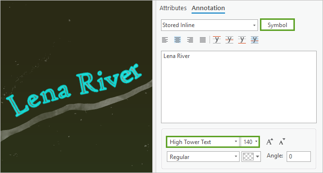 Font set to High Tower Text 140 pt in the Attributes pane, Annotation tab