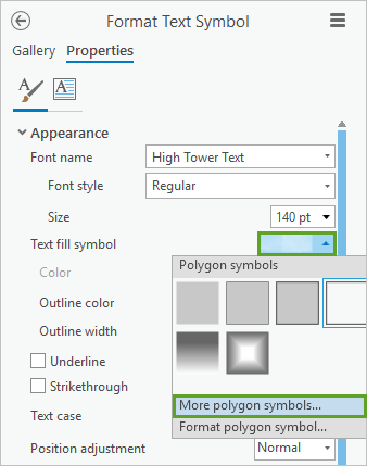 More polygon symbols in the Format Text Symbol pane, Properties tab, General tab