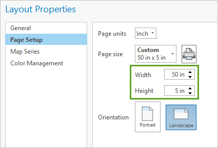 Width and Height settings in the Layout Properties window, Page Setup tab