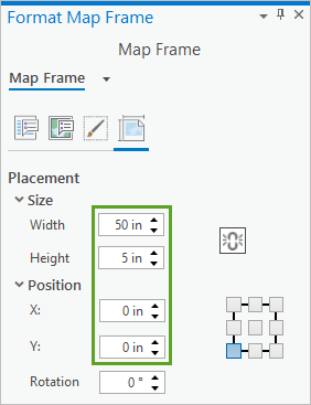 Size and Position settings on the Format Map Frame pane, Map Frame Placement tab