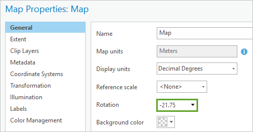 Rotation set to -21.75 in the Map Properties window, General tab