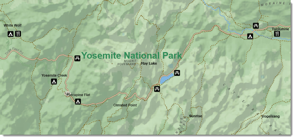 A sample map of Yosemite National Park.