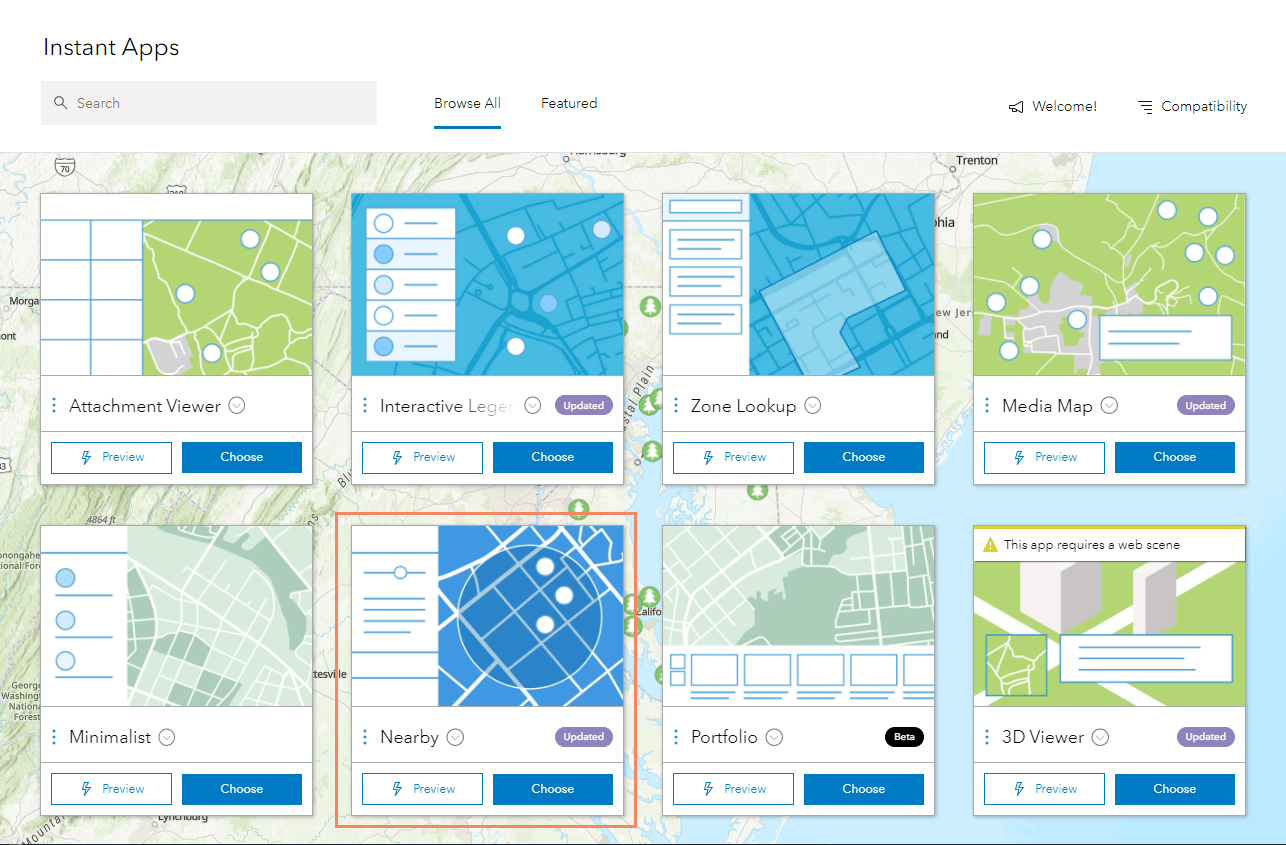 Instant App Gallery with Nearby app highlighted