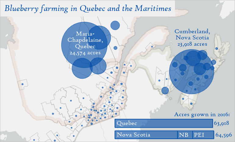 Map of blueberry farming in Quebec and the Maritimes