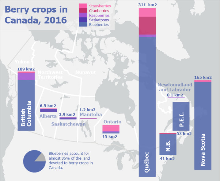 Map of berry crops in Canada, with stacked bar charts