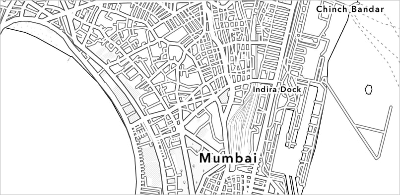 Coloring book map of Mumbai