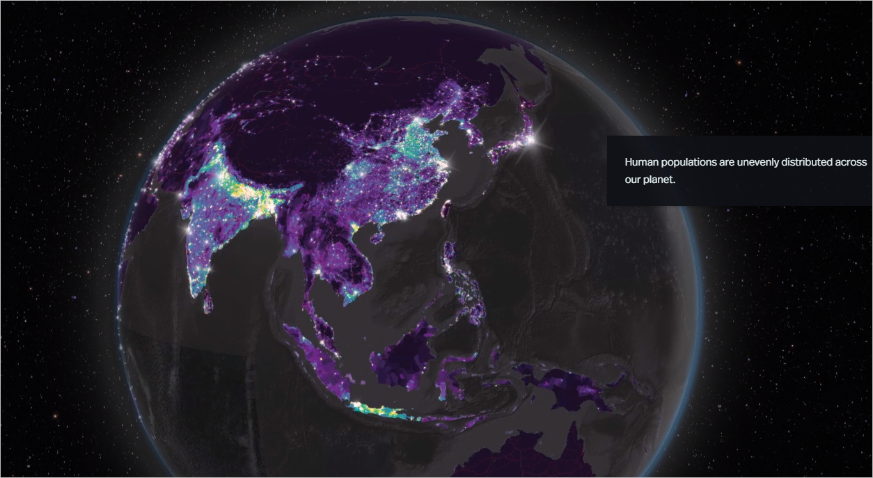 Globe of human population featured in story