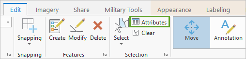 Attributes button on the ribbon with Elizabeth River text selected