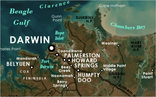 Completed annotation around the city of Darwin