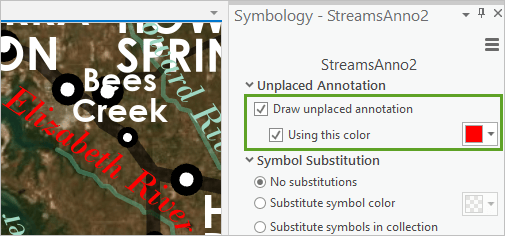 Draw unplaced annotation checked on the Symbology pane using the color red