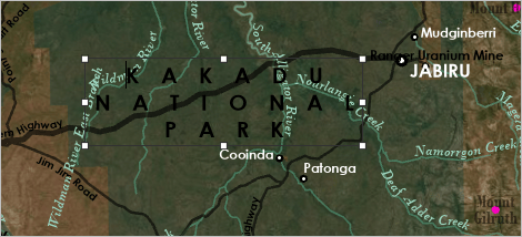 Kakadu National Park label with wide letter spacing