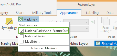 NationalParksAnno_FeatureOut checked in the Mask sources list on the ribbon