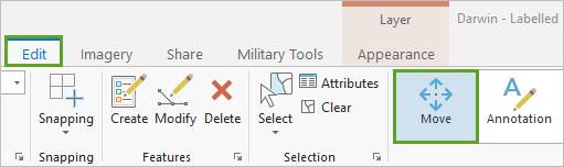 Move button on the ribbon