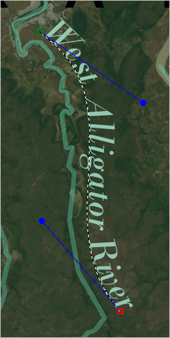 West Alligator River text curved alongside the river