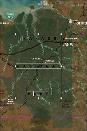 Kakadu National Park label with words spread widely apart
