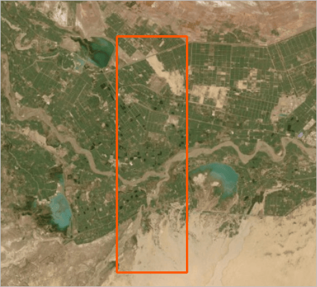 imagery with a rectangle indicating the extent of the previous imagery