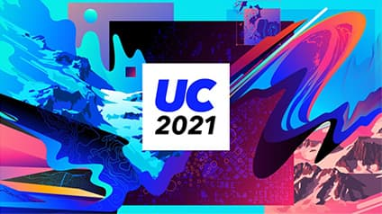 A multicolored graphic for the 2021 Esri User Conference with various abstract designs and mountains in blue and red